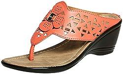 Craze Shop Womens Orange Artificial Leather Wedges - 7 UK