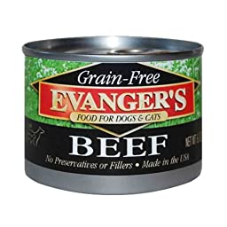 EVANGER\'S 776280 24-Pack Grain Free 100-Percent Beef for Dogs and Cats, 6-Ounce