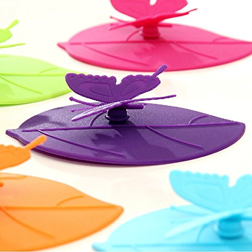 Creative Butterfly Anti-dust Airtight Seal Silicone Cup Mug Cover Lids 6 Set