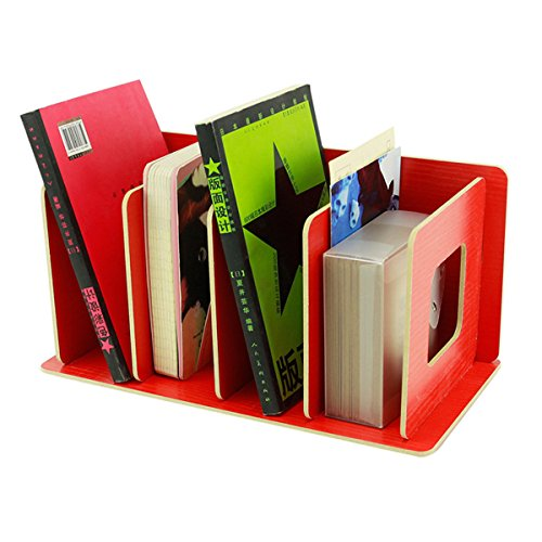 UQueen Creative Wooden DIY Desktop Magazines and Books Storage Box Sorting Bookends Office Kitchen Dish Carrying Shelves (Red)