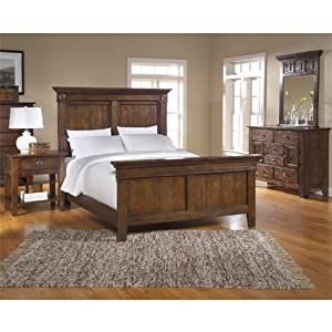 Attic heirlooms rustic oak panel bedroom set for Bedroom furniture amazon
