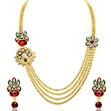 Sukkhi Splendid Four Strings Gold Plated Necklace Set for Women