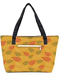 Pack Of 2 Red And Green Leaves Yellow Pattern Combo Tote Shopping Grocery Bag With Coin Pencil Purse