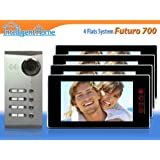 FUTURO 700 Video Door Phone Entry System for 4 Flats/Apartments (4 wire)by Intelligent Home