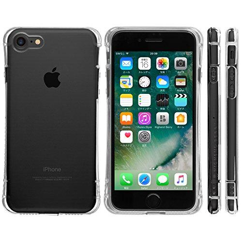 Highend berry iPhone7 ケース 耐衝撃 TPU ケース アイフォン7 カバー Arc 落下防止 用 ストラップ ホール 付き 保護キャップ 一体型 ストラップ 付き クリア (マイクロドット加工)
