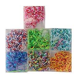 Tootpado 1000 Loom Bands in 4 Multi-Colour, 40 S-Clips, 4 Mini Hooks, 4 Y Shape Loom