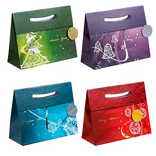 TSI Gift Bags with Elegant Christmas Motif, Large, 4 Designs (Pack of 12)