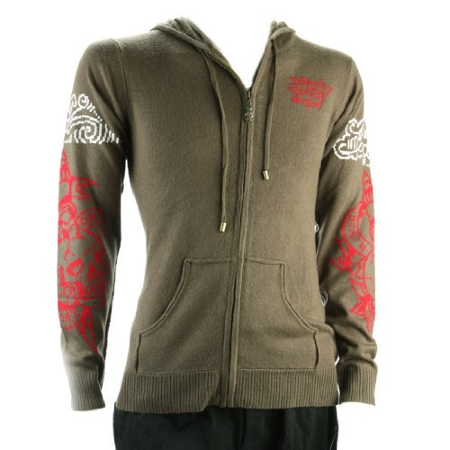 Ed Hardy Mens Tiger And Death Or Glory Long Sleeve Hoodie -Army - Xx-Large