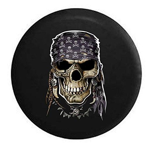 Pirate Skull Tattooed Bandana Crossbones Spare Tire Cover Black 32 in (Pirates Jeep Tire Cover compare prices)