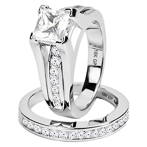 AMIERY 18KGP Wedding Band Anniversary Engagement Bridal Rings Set For Women Jewelry Cubic Zirconia