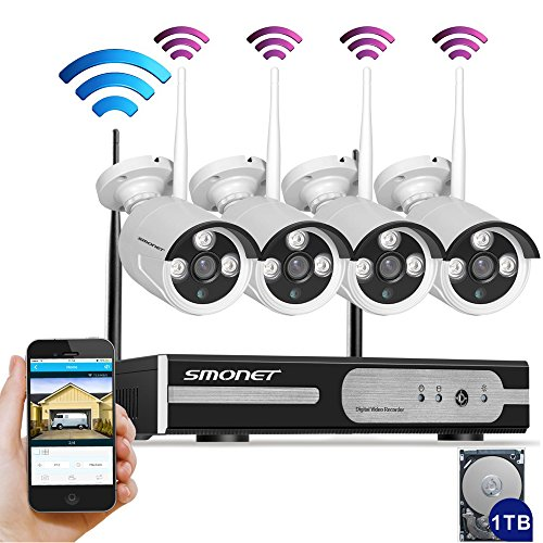Auto-PairingSmonet-4CH-960P1280X960-HD-Wireless-Video-Security-Camera-SystemNVR-Kits4PCS-13MP-Wireless-Weatherproof-Bullet-IP-CamerasPlug-and-Play65ft-Night-Vision1TB-HDD-Pre-installed