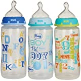 51N S7DuGPL. SL160  Gerber Nuk Baby Talk Trendline 3 Bottles With Silicone Nipples  Boys Color (Pack of 2)