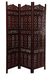 Wood Carving Room Divider Wooden Partition 3 panel