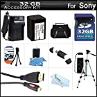 32GB Accessory Kit For Sony HDR-PJ230, HDR-PJ230/B, FDR-AX100, HDR-CX900 HD Camcorder Includes 32GB High Speed SD Memory Card + Replacement (2300Mah) NP-FV70 Battery + Ac / DC Charger + Deluxe Case + 50 Tripod + Micro HDMI Cable + USB 2.0 Reader + More