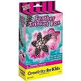 Pink & Black Feather Trinket Box Activity Kit Includes Rhinestones Feathers Glue Box