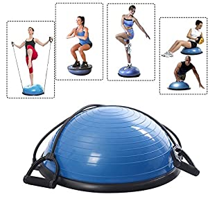 Yoga Half Ball Dome Balance Trainer Fitness Strength Exercise Workout With Pump Blue