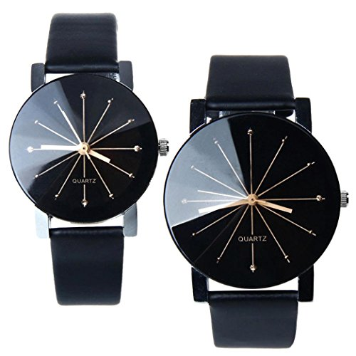 1 Pair Perman Womens Mens Unique Quartz Round Dial Case Clock PU Leather Lovers Wrist Watch Black (Round Dial Analog Watch compare prices)