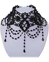 Black Beaded Burlesque Victorian Gothic Style Choker Necklace Indie Vintage