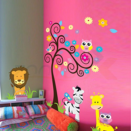 Bidyn scimmia, elefante, leone zooyoo (TM)-Adesivi da parete per stanza dei bambini zooyoo5091 de parede adesivo decorativo da parete rimovibile in pvc 3,5