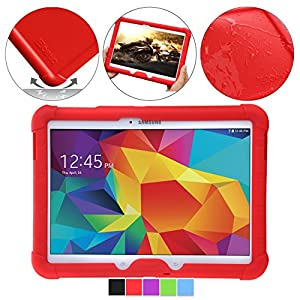 Samsung Galaxy Tab 4 10.1 Case - Poetic Samsung Galaxy Tab 4 10.1 Case [Turtle Skin Series] - [Corner/Bumper Protection] [Grip] [Sound-Amplification] Protective Silicone Case for Samsung Galaxy Tab 4 10.1 Red (3 Year Manufacturer Warranty From Poetic)