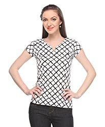 Wearsense Women's Top (White and Black, Medium)