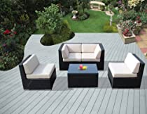 Hot Sale ohana collection PN0501 Genuine Ohana Outdoor Patio Wicker Furniture 5-Piece All Weather Gorgeous Couch Set