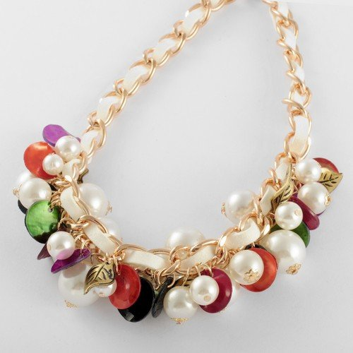 Fashion Golden Chain Twine White Lint Pearl Colorized Shell Pendant Statement Necklace