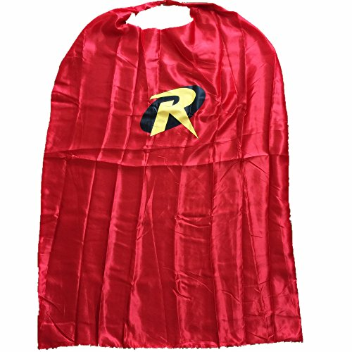 [Starkma Adult Robin Superhero Stain Cape Costume Red] (Batman And Robin Halloween Costumes For Adults)