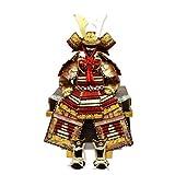 【五月人形】【コンパクトサイズ】人形の平安大新 茜中白縅 胴丸鎧飾り 5号 am12002