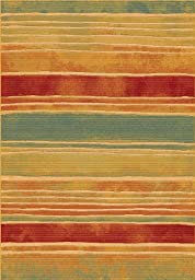 Area Rug, Multi Striped Stain Resistant Carpet, 6\' 7\