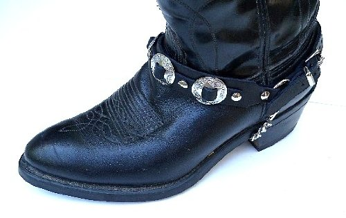 Western Biker Boot Chains Black Leather with Triple Nickel Conchos