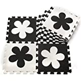 J&Y Soft Puzzle Mats Rugs Inter-Locking Floor Mats for Kids Soft Foam Play Mat Jigsaw Pop-Out Mats - Black & White Flowers