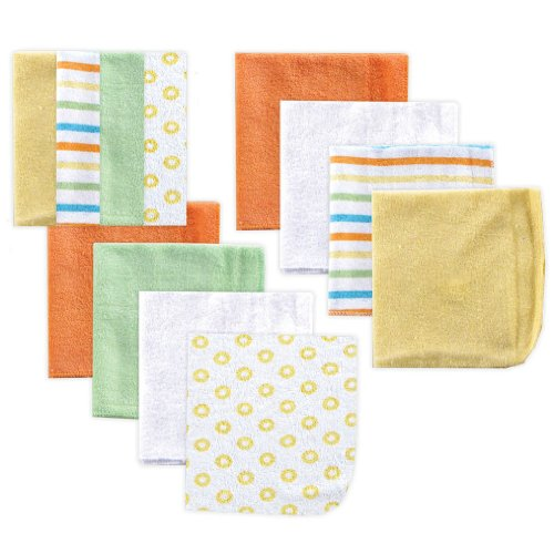 Luvable Friends Washcloths, Yellow, 12 Pack