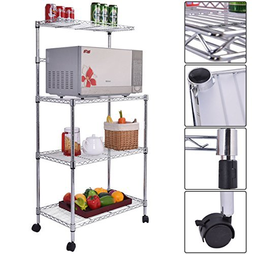 3-Tier Kitchen Baker's Rack Microwave Oven Stand Storage Cart Workstation Shelf (Under Cabinet Toaster Oven Mount compare prices)