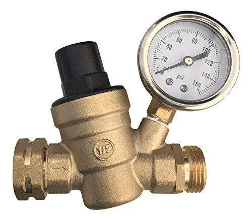 RV Water Pressure Regulator with Gauge, Adjustable, Lead-Free, for Camper (Camper Pressure Reducing Valve compare prices)