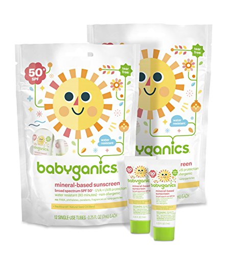 Babyganics Mineral-Based BabySunscreen SPF 50, .25oz On-The-Go Tubes, 12 Count (Pack of 2) - 1