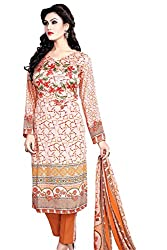 Justkartit Women's Orange Colour Printed Karachi Style Unstitched Dress Material / Party Wear Unstitched Dress Material / Unstitched Extra Large Size Salwar Suit For women (Special Ramazan Collection)