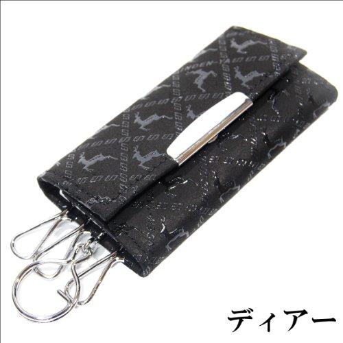印傳屋 印伝 メンズ レディース キーケース(キーホルダー) 4702 黒×黒 日本製 和柄 (ディアー)