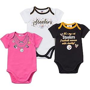 NFL Pittsburgh Steelers Baby Girl 3 PK Bodysuit Set at SteelerMania