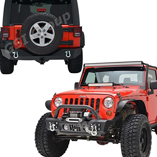 GSI-07-16-Jeep-Wrangler-Rock-Crawler-Stubby-Front-Bumper-with-OE-Fog-Lights-Hole-and-Winch-PlateRear-Bumper-with-2Hitch-Receiver-Textured-Black-Combo