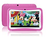 TurnMeOn 7 inch Tablet PC for Kids with Silicon Case Android5.1 Quad Core 512MB RAM 8GB ROM1024*600 HD diplay SD Card Slot Dual Camera Edition APPs Parents Control (Pink)