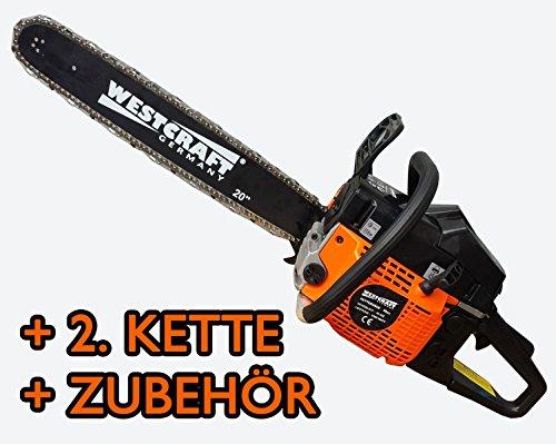 WESTCRAFT 58ccm Benzin Kettensäge 50cm Schwert 3,3PS Ersatzkette Motorsäge Motorkettensäge