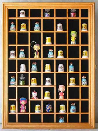 Buy Discount 59 Thimble Display Case Cabinet, with REAL Glass door, Felt Interior Background-TC01- O...