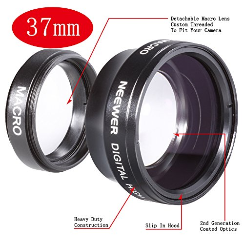 NEEWER 37MM High Definition Professional Photography Camera Lens – Wide Angle / 0.45X Macro Conversion Lens for Kodak, Canon & ANY Camera with a 37MM Filter Thread !!