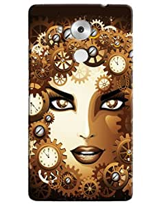 Omnam Girl Face In Time Effect Printed Designer Back Cover Case For Huawei Honor Mate 8