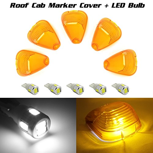 Partsam 5 Amber Roof Running Light Cab Marker Cover Lens +White 168 High Power Led Bulb For 1999 2000 2001 2002 2003 2004 F-250 Super Duty