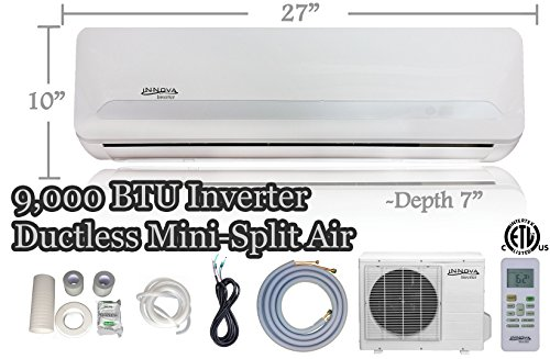 9,000 BTU Innova Ductless Mini-split Air Conditioner - Inverter - Cooling & Heating - Dehumidifier - 115v/60hz - Ultra Quiet - 16 Feet Line Set - Pre Charged with Refrigerant + All Installation Accessories Included