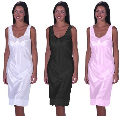 Womens/Ladies Anti Static Full Slip Underskirt Built Up Shoulder With Front & Bottom Lace, White 16