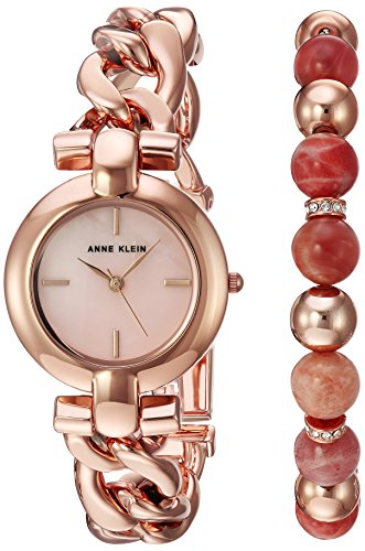 Anne Klein Women's AK/2836SUNS Rose Gold-Tone Bracelet Watch and Sunstone Beaded Bracelet (Rose Resin Bracelet compare prices)