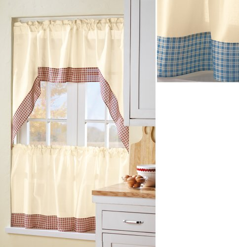 Kitchen Curtains And Valances Blue Or Brick Plaid Edge Two Panel Kitchen Curtain Set Brick By